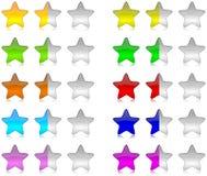 Kleurrijke geplaatste classificatiesterren stock illustratie