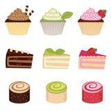 Kleurrijke geplaatste desserts Stock Fotografie