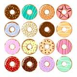 Kleurrijke geplaatste donuts stock illustratie