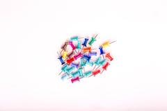 kleurrijke geplaatste duwspelden Stock Foto