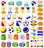 56 kleurrijke geplaatste elementen van de beeldverhaaldierenwinkel Royalty-vrije Stock Foto