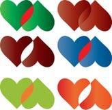 Kleurrijke geplaatste harten Stock Afbeeldingen