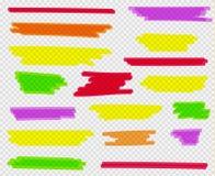Kleurrijke geplaatste highlighters Gele, groene, purpere, rode en oranje tellers stock illustratie