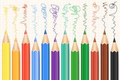 Kleurrijke geplaatste Kleurpotloden Realistische Potloden Vector Stock Fotografie