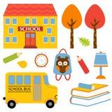 Kleurrijke geplaatste schoolpictogrammen Stock Foto's