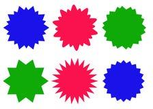 Kleurrijke geplaatste starburstpictogrammen, zonnestraalkentekens Stock Foto's