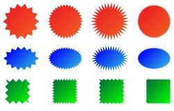 Kleurrijke geplaatste zonnestraal vectorkentekens stock illustratie