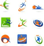 Kleurrijke geschiktheidspictogrammen en emblemen Stock Foto