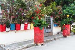 Kleurrijke Geschilderde Bloempotten stock foto's
