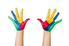 Kleurrijke geschilderde handen Royalty-vrije Stock Afbeeldingen