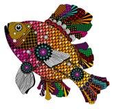 Kleurrijke gestileerde vissen in rode, roze en oranje tonen Royalty-vrije Stock Afbeeldingen