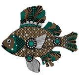 Kleurrijke gestileerde vissen in zwarte, groene en bruine tonen Royalty-vrije Stock Fotografie