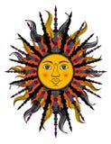 Kleurrijke gestileerde zon Bitmap in goedkope populaire stijl Stock Fotografie