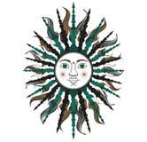 Kleurrijke gestileerde zon in groene en zwarte kleuren Stock Foto