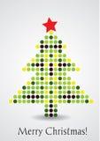 Kleurrijke Gestippelde Kerstkaart Stock Afbeeldingen