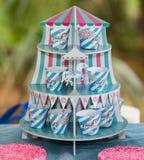 Kleurrijke gestreepte blauwe en roze verjaardagscarrousel stock afbeelding