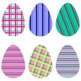 Kleurrijke gestreepte eieren Stock Fotografie