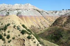Kleurrijke Gestreepte Rotsen, het Park van Badlands Nat'l Royalty-vrije Stock Foto's