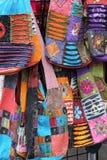 Kleurrijke Gewatteerde Stoffenhandtassen Stock Foto