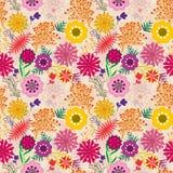 Kleurrijke geweven en gelaagde bloemenpatroontegel in sinaasappel en roze stock illustratie
