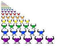 Kleurrijke gezonde harten die en in rijen marcheren paraderen LGBT-regenboogkleuren op witte transparante achtergrond worden geïs stock illustratie