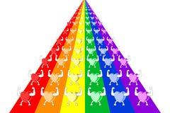 Kleurrijke gezonde harten die en in rijen op regenboog gestreepte stegen marcheren paraderen Vector illustratie, EPS10 vector illustratie