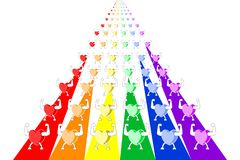 Kleurrijke gezonde harten die en in rijen op regenboog gestreepte stegen marcheren paraderen Vector illustratie, EPS10 royalty-vrije illustratie