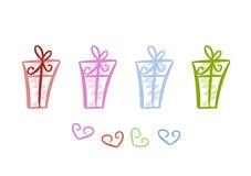 Kleurrijke giftpakketten Royalty-vrije Stock Afbeeldingen