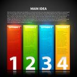 Kleurrijke glanzende verticale die banner vijf, van één tot vier wordt genummerd Stock Fotografie