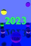 Kleurrijke glasballen op weerspiegelende oppervlakte en het jaar 2023 royalty-vrije illustratie