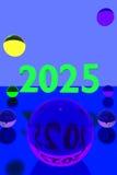 Kleurrijke glasballen op weerspiegelende oppervlakte en het jaar 2025 vector illustratie