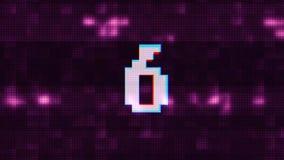 Kleurrijke glitch aftelprocedure van 10 tot 1 van de van het achtergrond interferentie purpere lawaai nieuwe dynamische blije vak stock illustratie