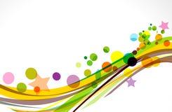 Kleurrijke golfachtergrond met sterren Stock Afbeelding