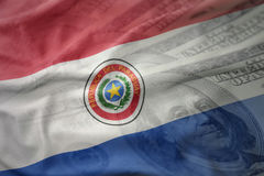 kleurrijke golvende nationale vlag van Paraguay op een achtergrond van het dollargeld Het concept van financiën stock afbeelding