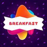 Kleurrijke gradiëntvlieger voor koffie op heldere achtergrond met ontbijtcitaat Samenstelling van multi-colored gradiënten en Vector Illustratie