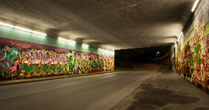 Kleurrijke graffiti in autotunnel royalty-vrije stock foto's