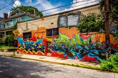 Kleurrijke graffiti op een baksteengebouw in weinig Vijf Punten, Atl Royalty-vrije Stock Fotografie