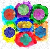 Kleurrijke grafiek met chakras van menselijk lichaam royalty-vrije illustratie