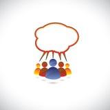 Kleurrijke grafisch van mensen die, sprekend, comm babbelen Stock Foto