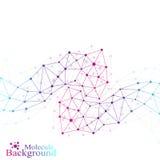 Kleurrijke grafische molecule en mededeling als achtergrond Verbonden lijnen met punten Geneeskunde, wetenschap, technologieontwe Stock Foto's