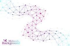 Kleurrijke grafische molecule en mededeling als achtergrond Verbonden lijnen met punten Geneeskunde, wetenschap, technologieontwe Royalty-vrije Stock Afbeeldingen