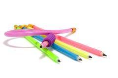 Kleurrijke grappige flexibele potloden Stock Afbeeldingen