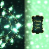 Kleurrijke Groene het Gloeien Kerstmislichten Stock Afbeelding