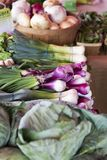 Kleurrijke groenten bij landbouwersmarkt royalty-vrije stock afbeeldingen
