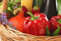 Kleurrijke groenten in de mand Stock Afbeeldingen