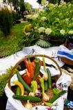 Kleurrijke groenten in houten mand Stock Foto