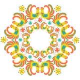 Kleurrijke haan om kader heldere kleuren stock illustratie