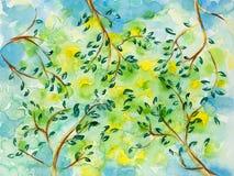 Hand getrokken illustratie van zon achter bomen Royalty-vrije Stock Foto's