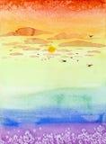 Hand getrokken illustratie van kleurrijke zonsondergang Royalty-vrije Stock Foto