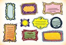 Kleurrijke Hand Getrokken Frames Stock Foto's